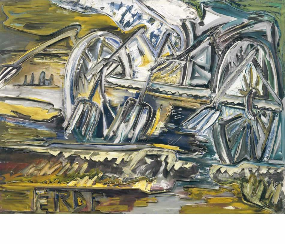Heuwender, Reliefbild, Acryl auf verformter Leinwand und Pappe, 1988, 140 x 170 cm