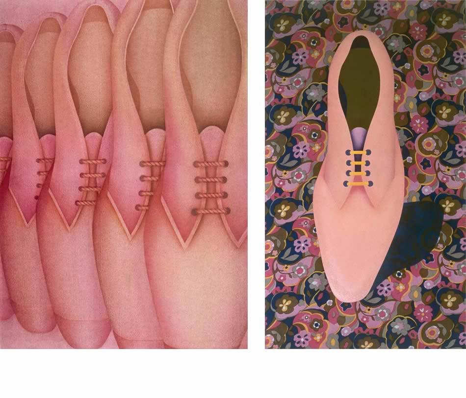 Rosa Parade, Stofffarbe auf Frottee, 1969, 135 x 95 cm (Privatbesitz)   |   Schuh auf Blumengrund, Acryl auf bedrucktem Stoff, 1968, 115 x 65 cm