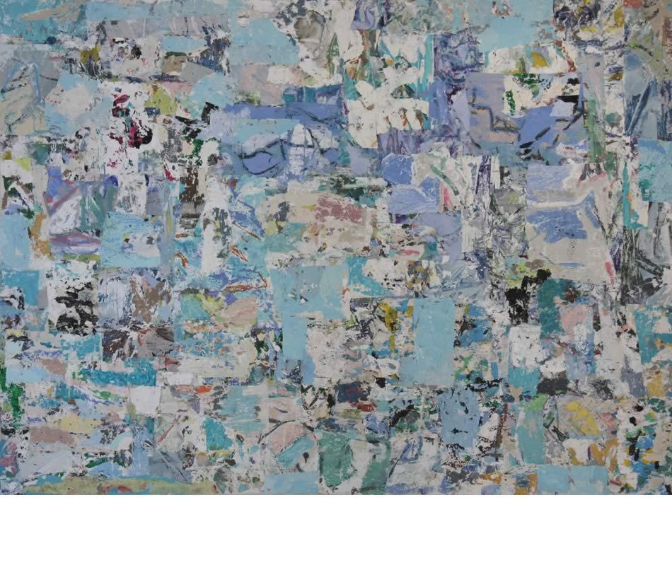 Ägäischer Traum, Décollage, Acryl auf Leinwand, 2016, 140 x 185 cm
