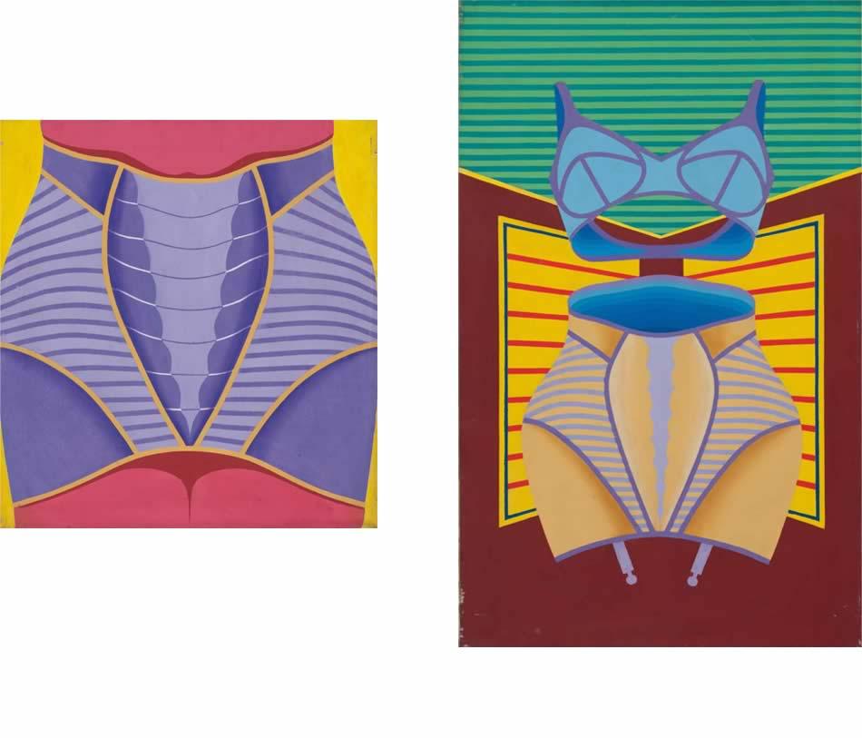 Korsett, Acryl auf Leinwand, 1967, 65 x 60 cm     |     Korsett mit BH, Acryl auf Leinwand, 1967, 105 x 65 cm