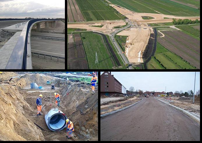 Fotowand: Straßen-, Verkehrs-, Tiefbauplanung - von der Grundlagenermittlung bis zur Bauüberwachung / Bauoberleitung