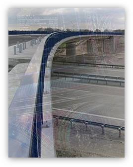 Grafik: Planung von Verkehrsanlagen - Effiziente Verkehrslösungen von der Erstellung der Entwurfs-, Planfeststellungs-, Ausführungsunterlagen über Bauüberwachung bis zur finalen Abnahme