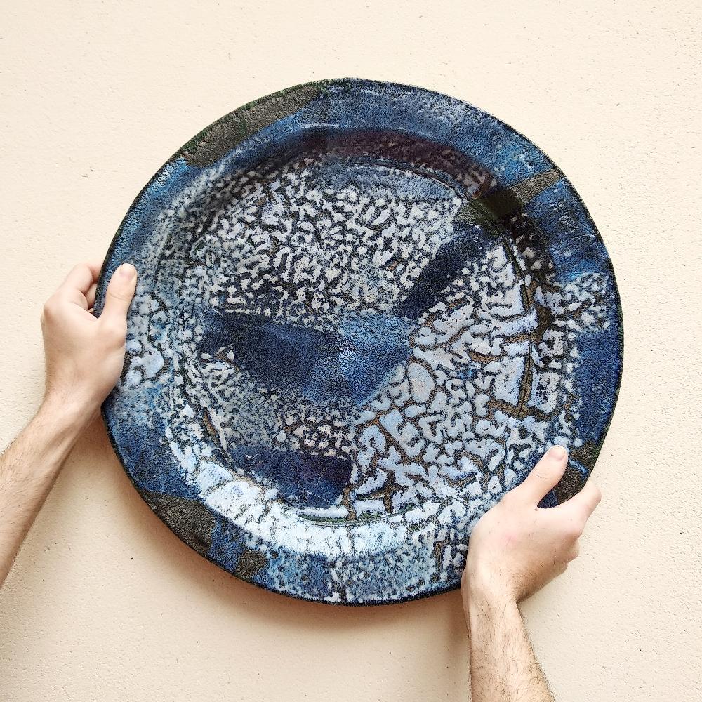 Grand plat, émail craquelé (diamètre 45cm)