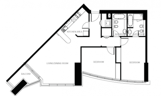 План квартиры с 2мя спальнями, осталась одна квартира на 32 этаже.