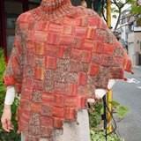 バスケット編みのポンチョ