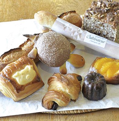 ハード系から食事パンや菓子パン、ヴィエノワズリーと、多彩なパンが揃います。
