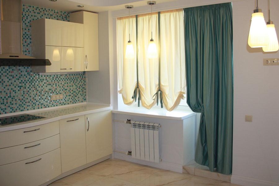 Австрийская штора  на кухне;   ткани  - Io design, Garden