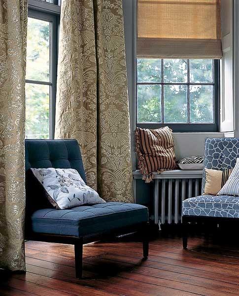 портьеры из жаккардовой ткани; римская штора из однотонной ткани