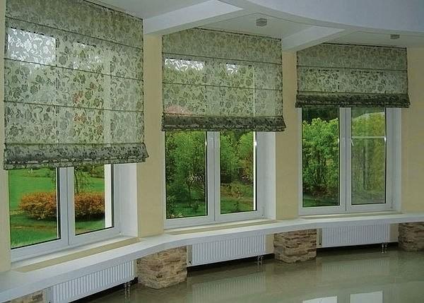 римские шторы из цветного тюля