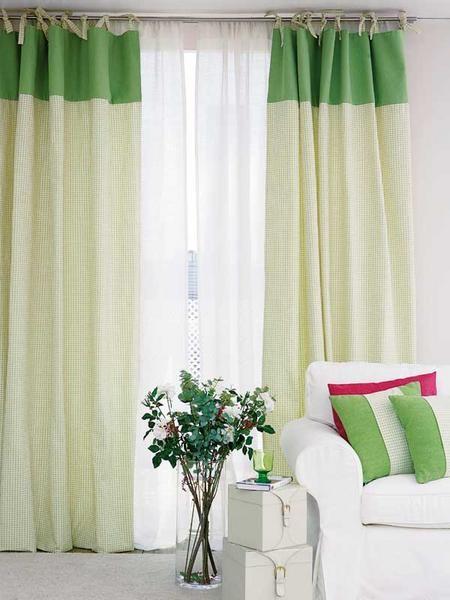 портьеры на завязках из ткани с контрастной полосой