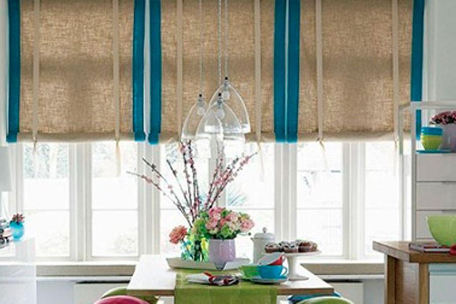 Вьетнамские тканевые шторы в столовой