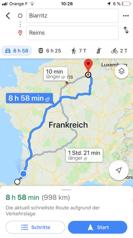 Das heutige Etappenziel: Ein Platz bei Reims.
