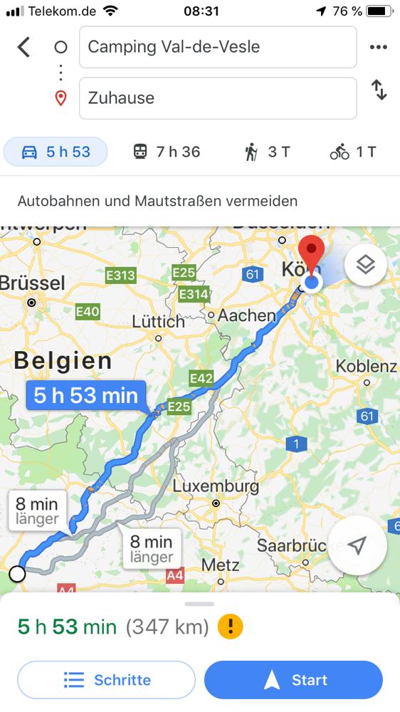 Heutige Etappe. Über die Landstraßen.
