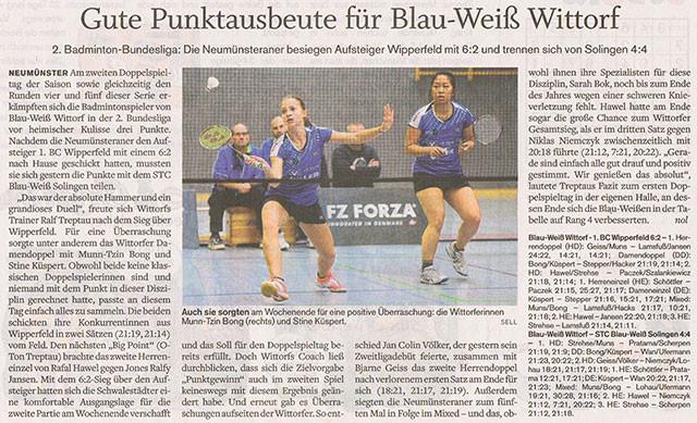 2. Spieltag 2015/2016, Holsteinischer Courier vom 28.10.2015