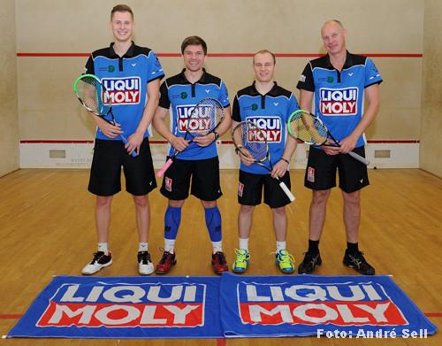 SV Neumünster 2015/2016: Squash Bundesliga Nord, v.l.n.r.: Hendrik Remer, Kai Rixen, James Earles und Jens Thomas