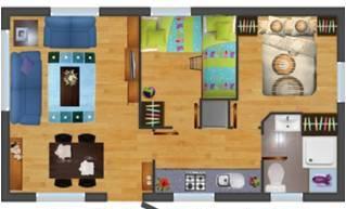 Distribución 2 dormitorios