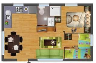 Distribución de 2 dormitorios