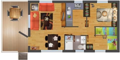 Plano de 2 dorm. y porche en cabaña de madera