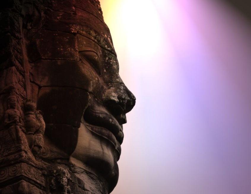 Smiling Buddha in Angkor, Siem Reap, Cambodia