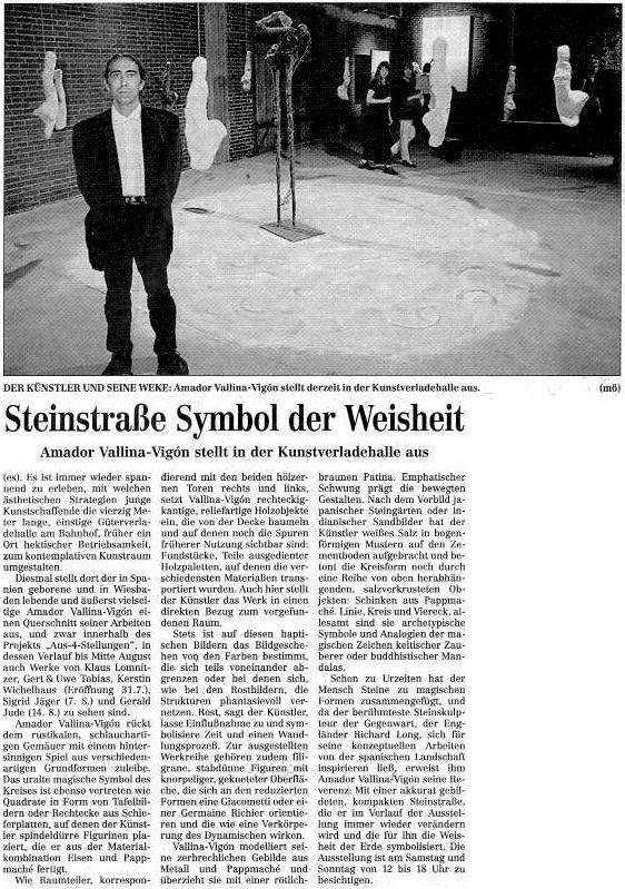 Rüsselsheimer Echo: Steinstraße Symbol der Weisheit / Amador Vallina stellt in der Kunstverladehalle aus