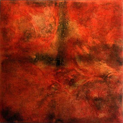 ohne Titel, 1998, 180 x 180 x 10 cm, auf gepolsterer Leinwand, Stahlrahmen