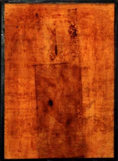 ohne Titel, Mischtechnik auf Holz, 1997, 97x71 cm, Rahmen: Stahl