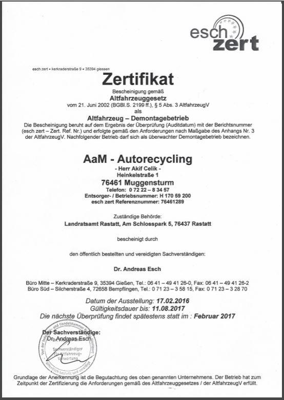 Zertifikat - AaM-Autorecycling