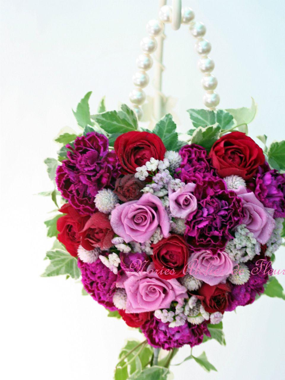 生花 紫のバラのバッグ型ブーケ
