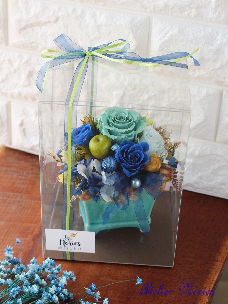 Robin ロビン エメラルドグリーンの花器に合わせてブルー系のプリザーブドフラワーで