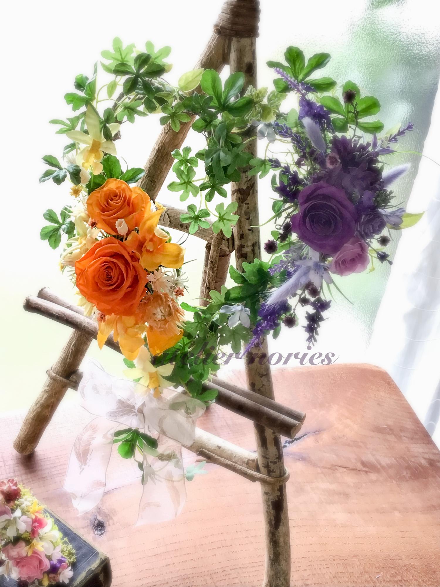 Janice ジャニス オレンジとパープルのプリザーブドフラワーとアーティフィシャルフラワーで制作したハートのリース