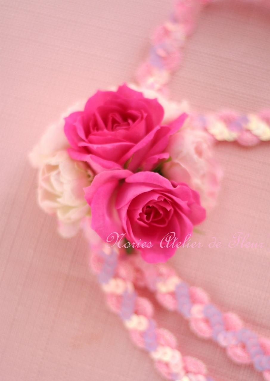 生花 ピンクのバラとフランネルフラワーのブーケにあわせた チョーカー