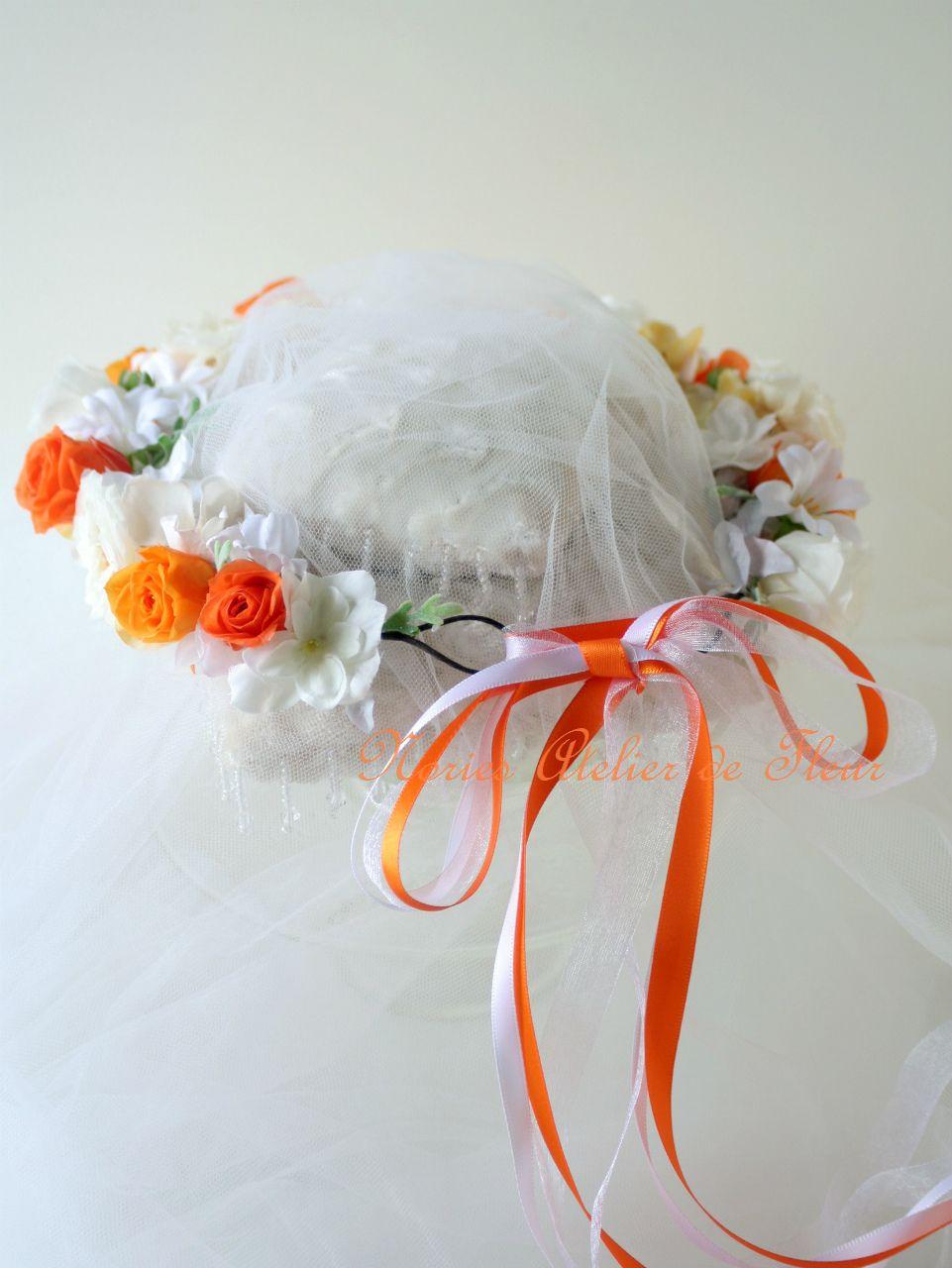 ブーケと同じテイストで作る花かんむり バックスタイル
