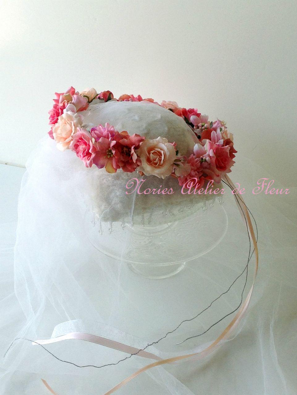 Elaine エレイン ピーチカラーのアーティフィシャルフラワーを使った花かんむり