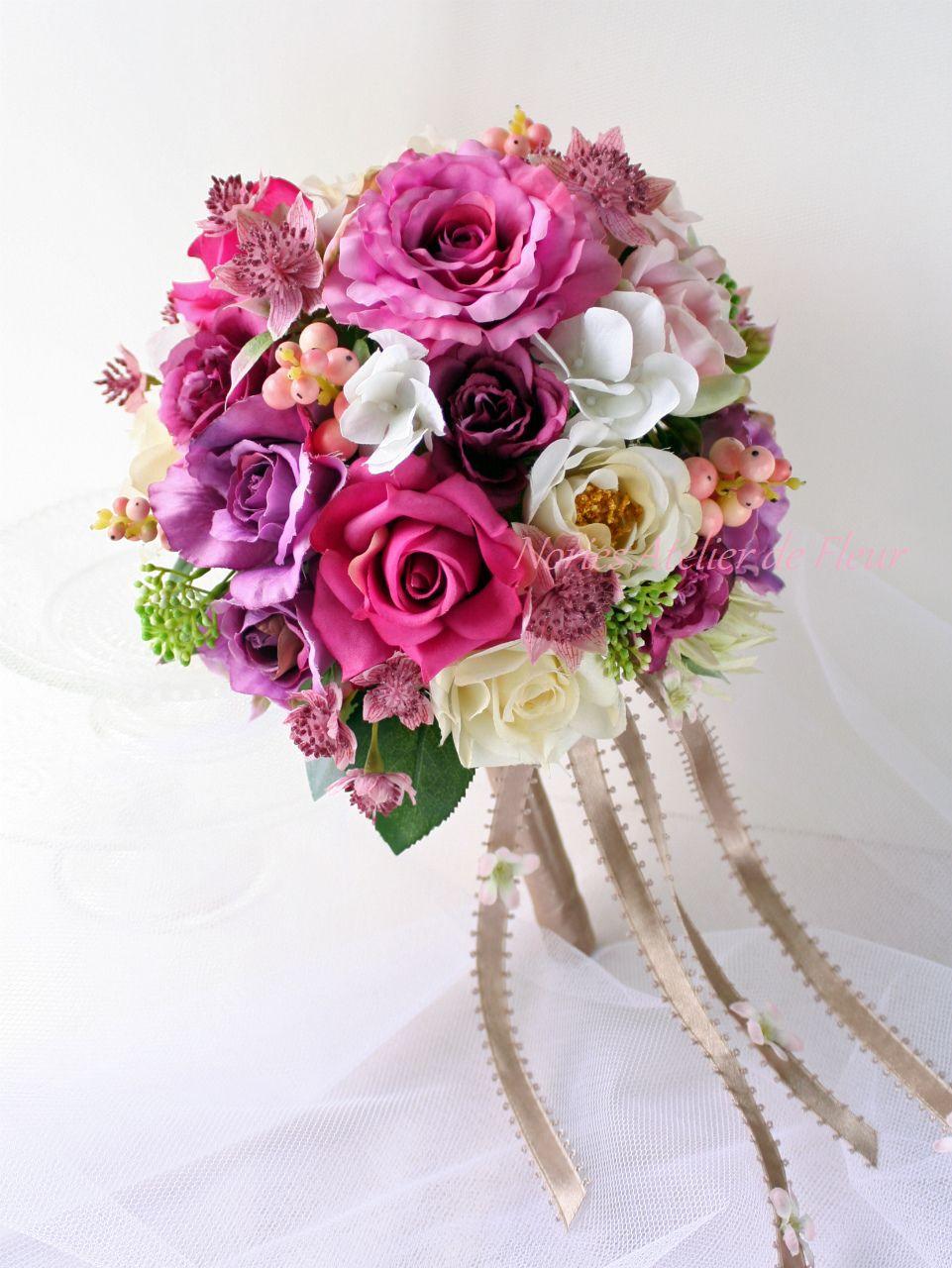 サラ ピンク系のバラのアーティフィシャルフラワーのラウンドブーケ