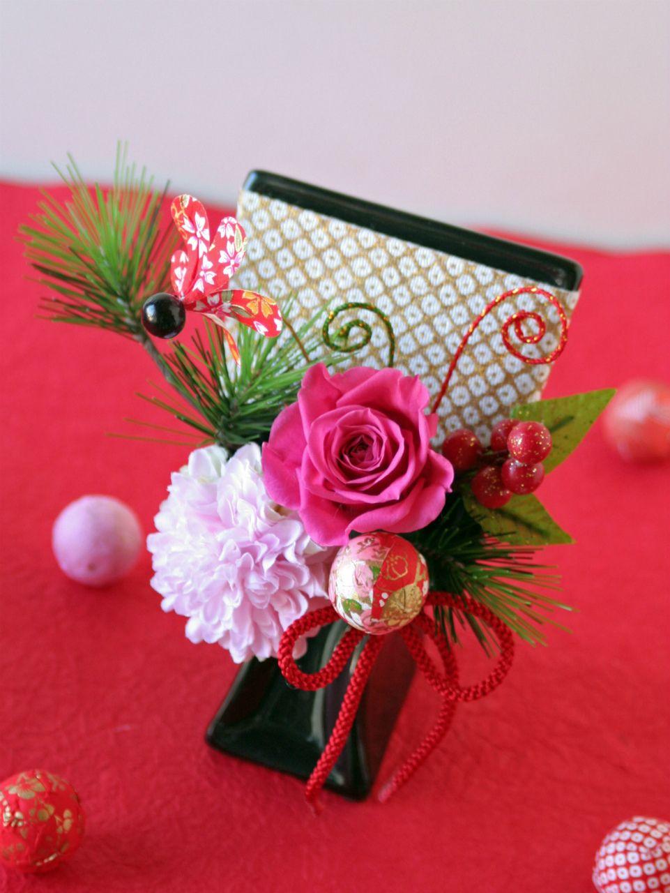 お正月のミニデコレーション 羽子板のプリザーブドフラワーアレンジメント ピンク