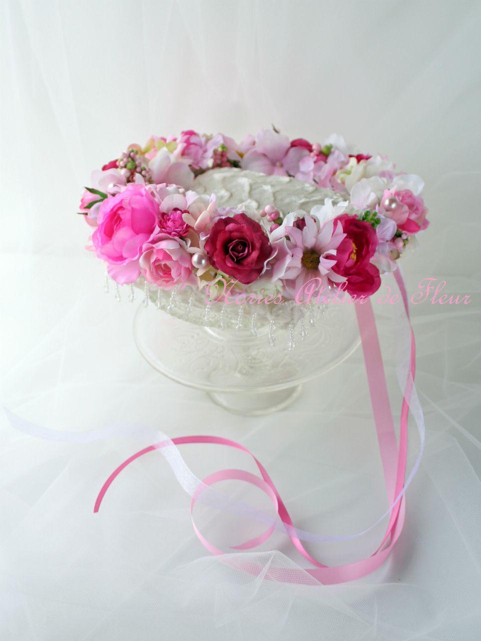 Fiona フィオナ 赤、ピンク系のアーティフィシャルフラワーを使った花かんむり