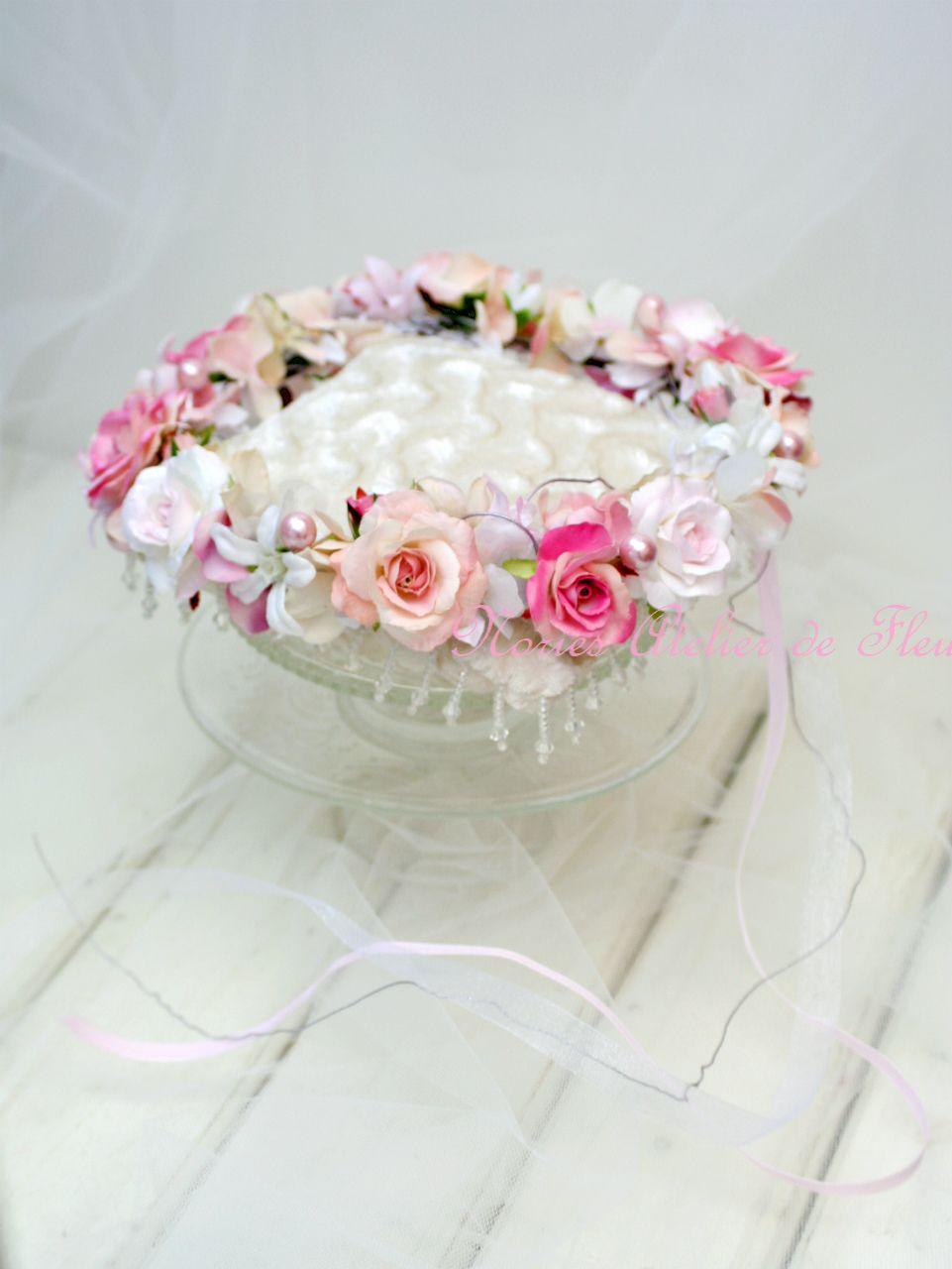 Gemma ジェンマ 淡いピンク系のアーティフィシャルフラワーを使った花かんむり