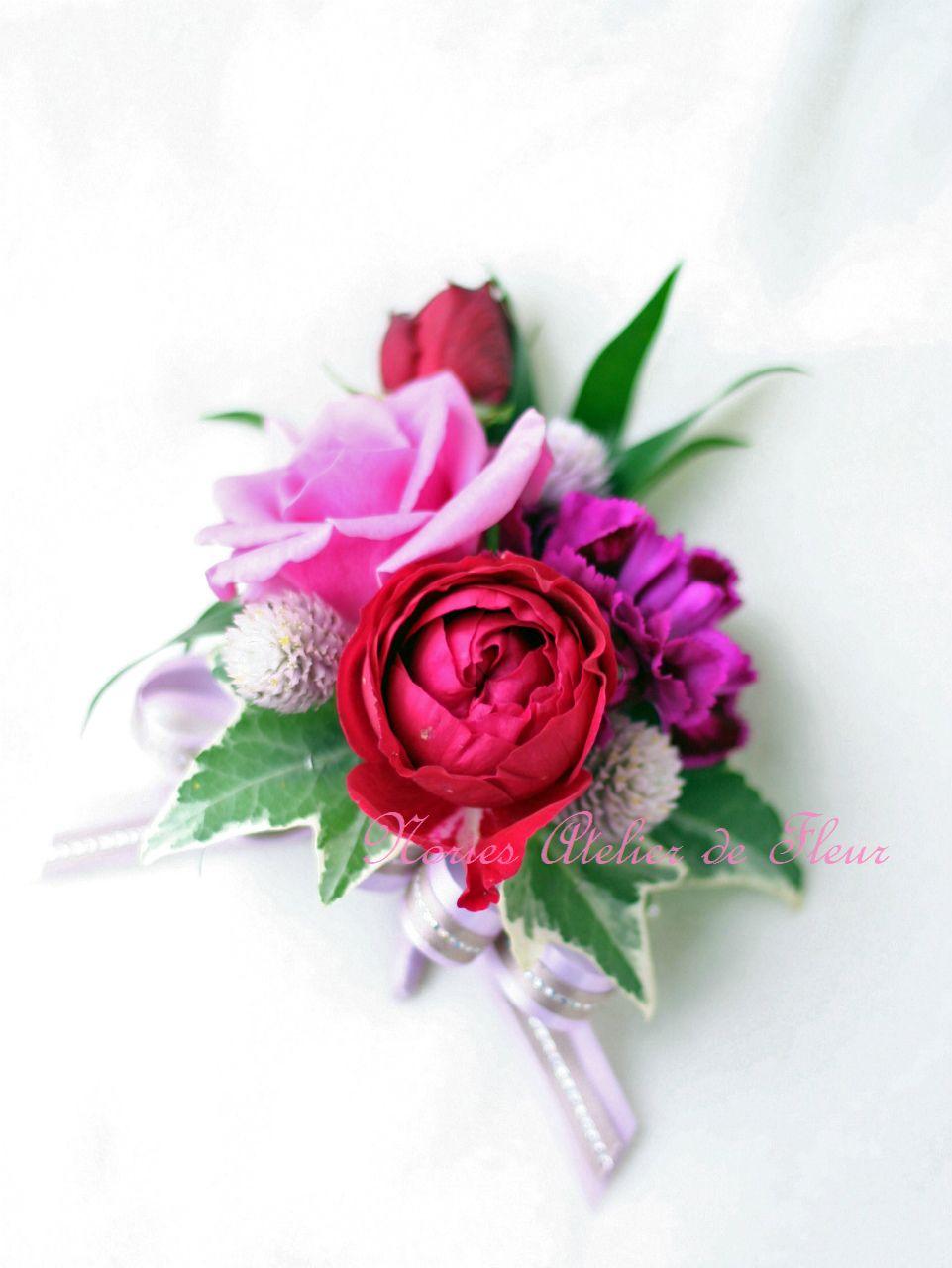 生花 紫のバラのバッグ型ブーケ ブトニア