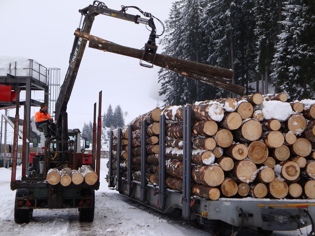 Holzverlad auf die Rhätische Bahn
