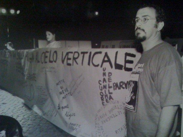 Luglio 1996,  a Piazza Campo de Fiori per una performance
