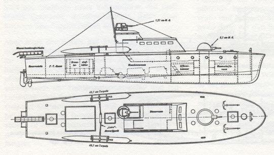 """S-Boot Typ """"K 40"""", Entwurf M. Picker - Bild aus H. Fock: """"Schnellboote Band 1"""""""