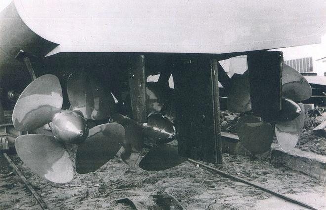 Verstell-Propeller, Hauptruder und Stauruder des Bootes S 3 des BGS - Bild: Lürssen