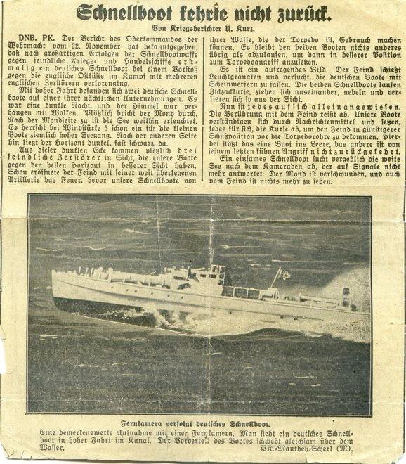 Zeitungsartikel vom November 1940 - Zeitungsausschnitt: Archiv Maik Freund