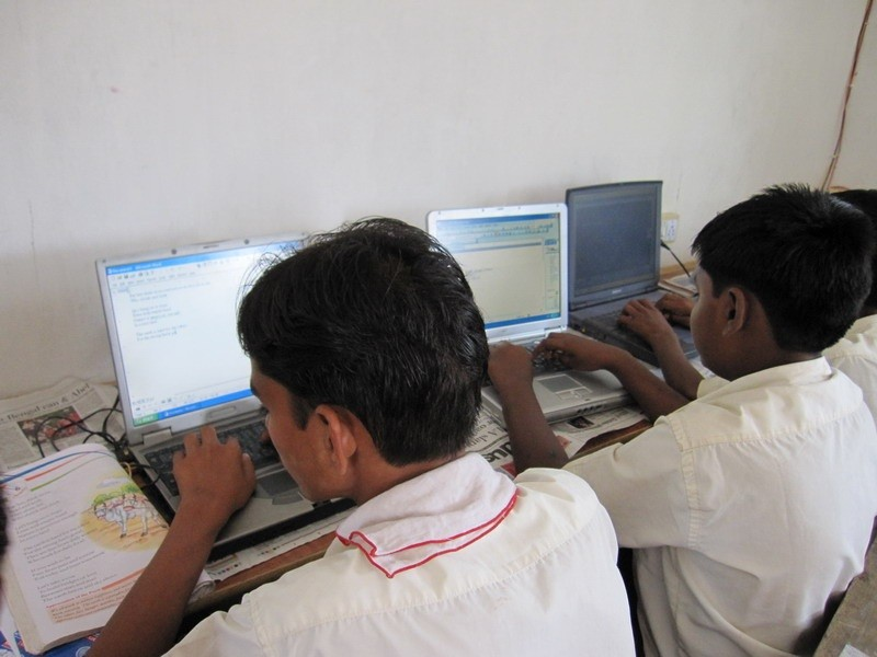 Students study computer not only logically but also practically with real computers(donated by supporters).