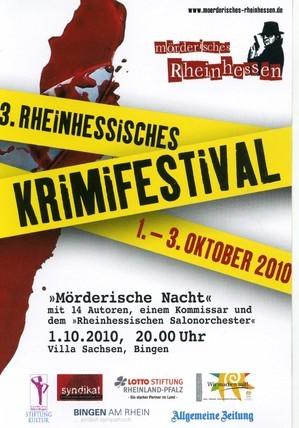 Plakat des 3. Rheinhessischen Krimifestivals in Bingen