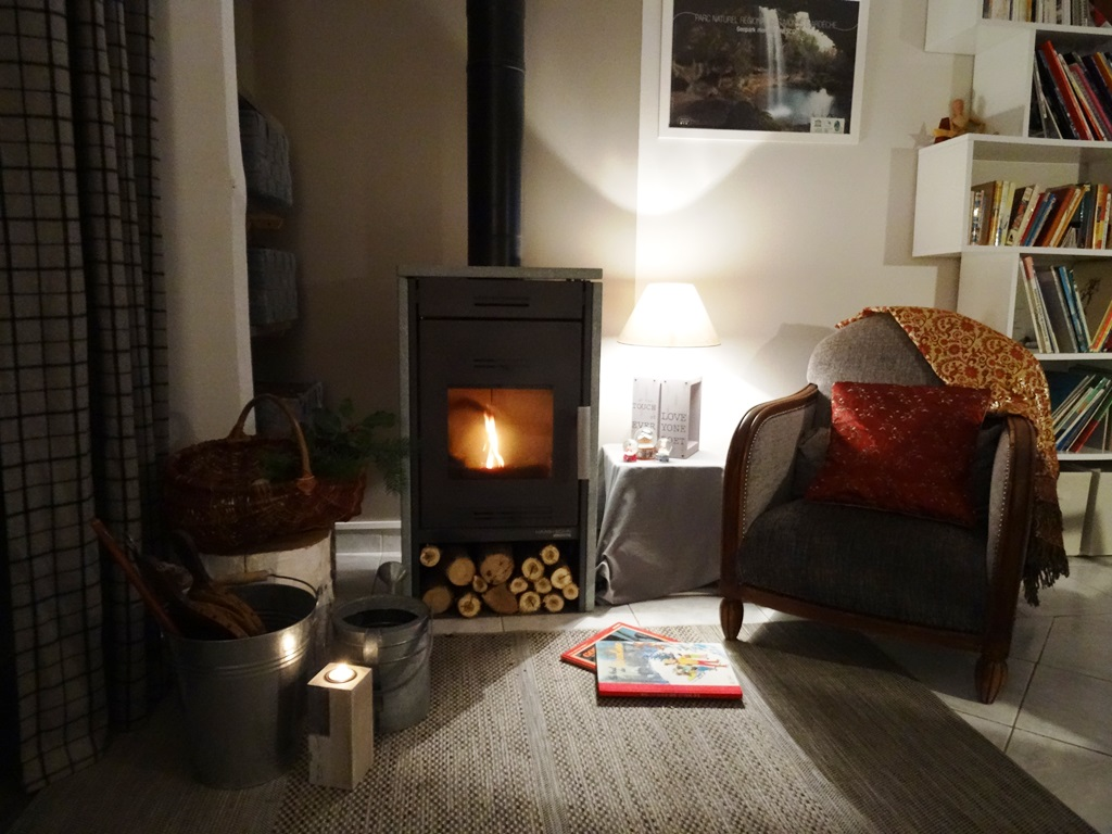 in winter, woodfire when you arrive