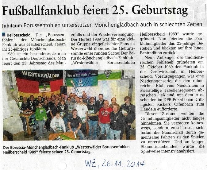 Schade.....stark gekürzter Pressetext in der Rhein-Zeigung, Lokalausgabe Westerwälder-Zeitung vom Mittwoch, 26.11.2014