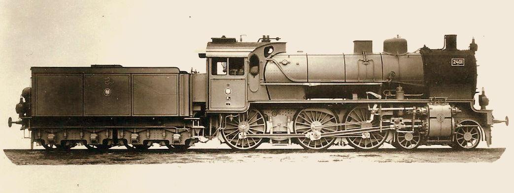 Lok 2401 Elberfeld, eine der ersten P8-Lokomotiven der KPEV, Windschneidenführerhaus, 1906