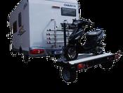 Remorque moto pour camping-car, caravane ou fourgon. Pour le transport de scooters, motos ou véhicules 3 roues.
