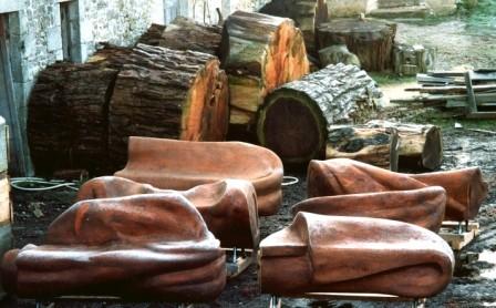 """les bancs - """"drapé"""" - en bois de séquoia"""